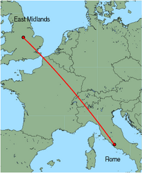 Map of route from East Midlands to Rome (Ciampino)