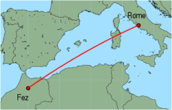 Map of route from Fez to Rome (Ciampino)