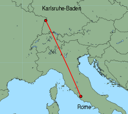 Map of route from Karlsruhe-Baden to Rome (Ciampino)