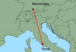 Map of route from Rome (Ciampino) to Memmingen