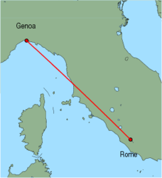 Map of route from Genoa to Rome(Ciampino)