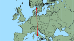 Map of route from Rome(Ciampino) to Gothenburg(Saeve)