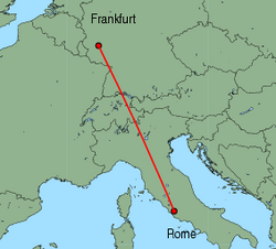 Map of route from Rome (Ciampino) to Frankfurt (Hahn)