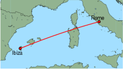 Map of route from Ibiza to Rome (Ciampino)