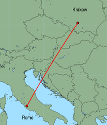 Map of route from Krakow to Rome (Ciampino)