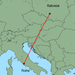 Map of route from Katowice to Rome (Ciampino)