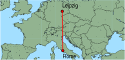 Map of route from Rome (Ciampino) to Leipzig