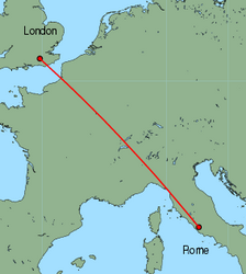 Map of route from London (Gatwick) to Rome (Ciampino)