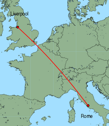 Map of route from Liverpool to Rome(Ciampino)