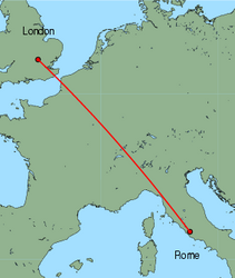 Map of route from London (Luton) to Rome (Ciampino)