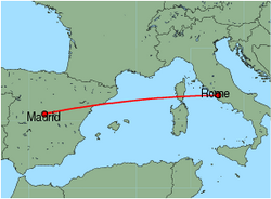 Map of route from Madrid to Rome(Ciampino)