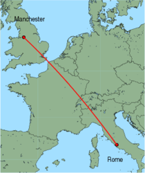 Map of route from Manchester to Rome(Ciampino)