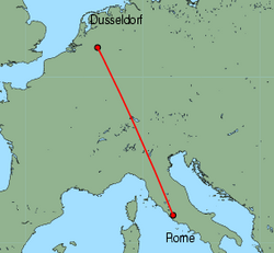 Map of route from Rome (Ciampino) to Weeze