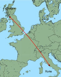 Map of route from Rome (Ciampino) to Glasgow (Prestwick)
