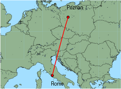 Map of route from Poznan to Rome (Ciampino)