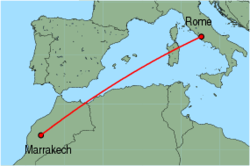 Map of route from Marrakech to Rome (Ciampino)
