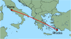 Map of route from Rome (Ciampino) to Rhodos