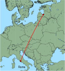 Map of route from Riga to Rome (Ciampino)