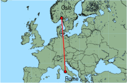 Map of route from Oslo(Rygge) to Rome(Ciampino)