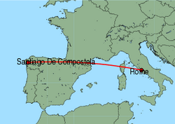 Map of route from SantiagodeCompostela to Rome(Ciampino)