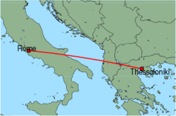 Map of route from Rome (Ciampino) to Thessaloniki