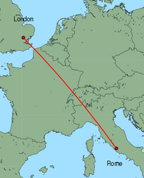 Map of route from London(Stansted) to Rome(Ciampino)