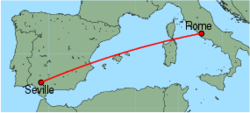 Map of route from Seville to Rome (Ciampino)
