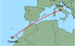 Map of route from Tenerife(Sur) to Rome(Ciampino)