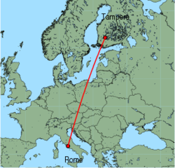 Map of route from Rome(Ciampino) to Tampere