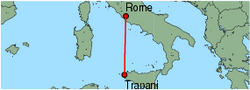 Map of route from Trapani to Rome (Ciampino)