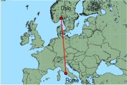 Map of route from Oslo (Torp) to Rome (Ciampino)