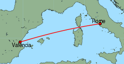 Map of route from Valencia to Rome(Ciampino)