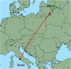 Map of route from Vilnius to Rome (Ciampino)