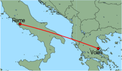 Map of route from Rome (Ciampino) to Volos