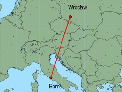 Map of route from Wroclaw to Rome (Ciampino)