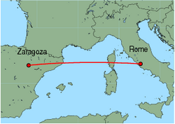 Map of route from Zaragoza to Rome (Ciampino)