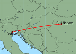 Map of route from Cluj-Napoca to Venice&nbsp;(Marco&nbsp;Polo)
