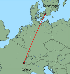 Map of route from Copenhagen to Geneva
