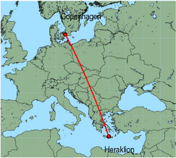 Map of route from Copenhagen to Heraklion