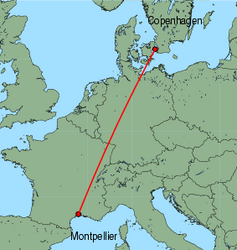 Map of route from Montpellier to Copenhagen