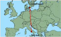 Map of route from Naples to Copenhagen