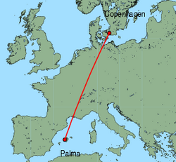 Map of route from Palma to Copenhagen