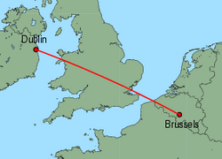Map of route from Dublin to Brussels(Charleroi)