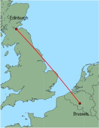 Map of route from Edinburgh to Brussels (Charleroi)