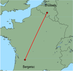 Map of route from Brussels (Charleroi) to Bergerac