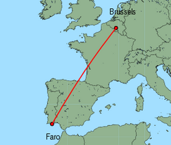 Map of route from Faro to Brussels(Charleroi)
