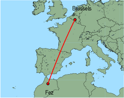 Map of route from Brussels (Charleroi) to Fez