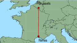 Map of route from Nimes to Brussels (Charleroi)