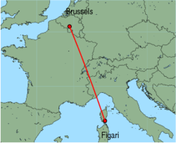 Map of route from Figari to Brussels (Charleroi)
