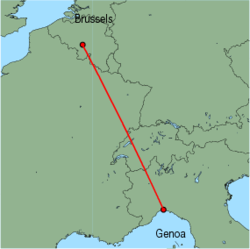 Map of route from Genoa to Brussels (Charleroi)